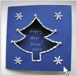 Эта сделана с использованием риса.  Новогодние открытки своими руками.